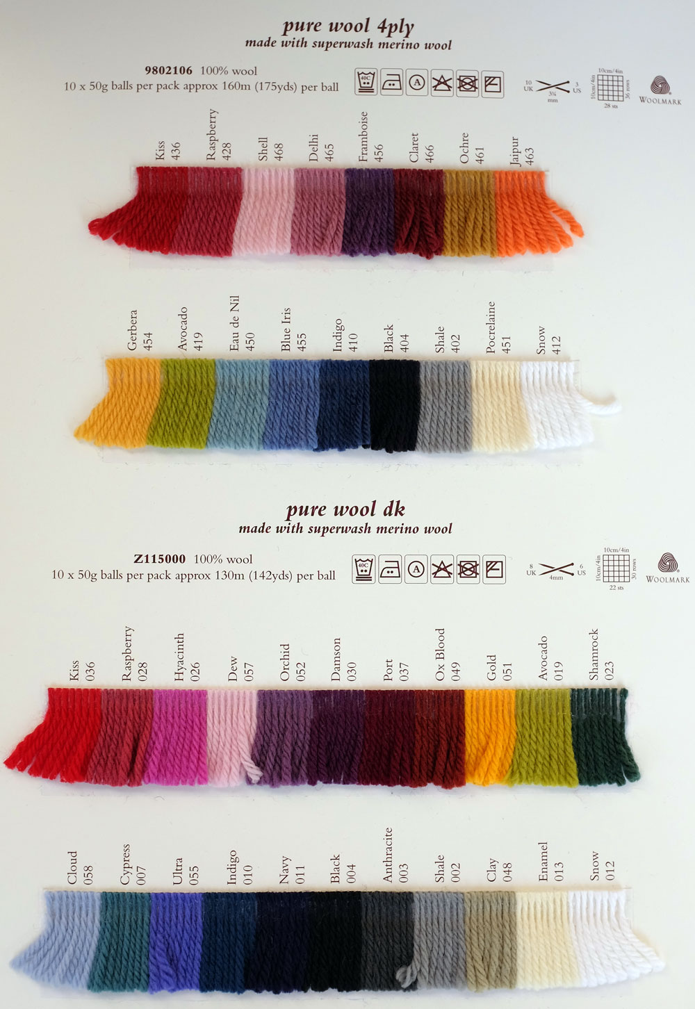 Rowan pure wool dk rowan yarns ryc sirdar sublime english yarns shade card see shade card nvjuhfo Choice Image