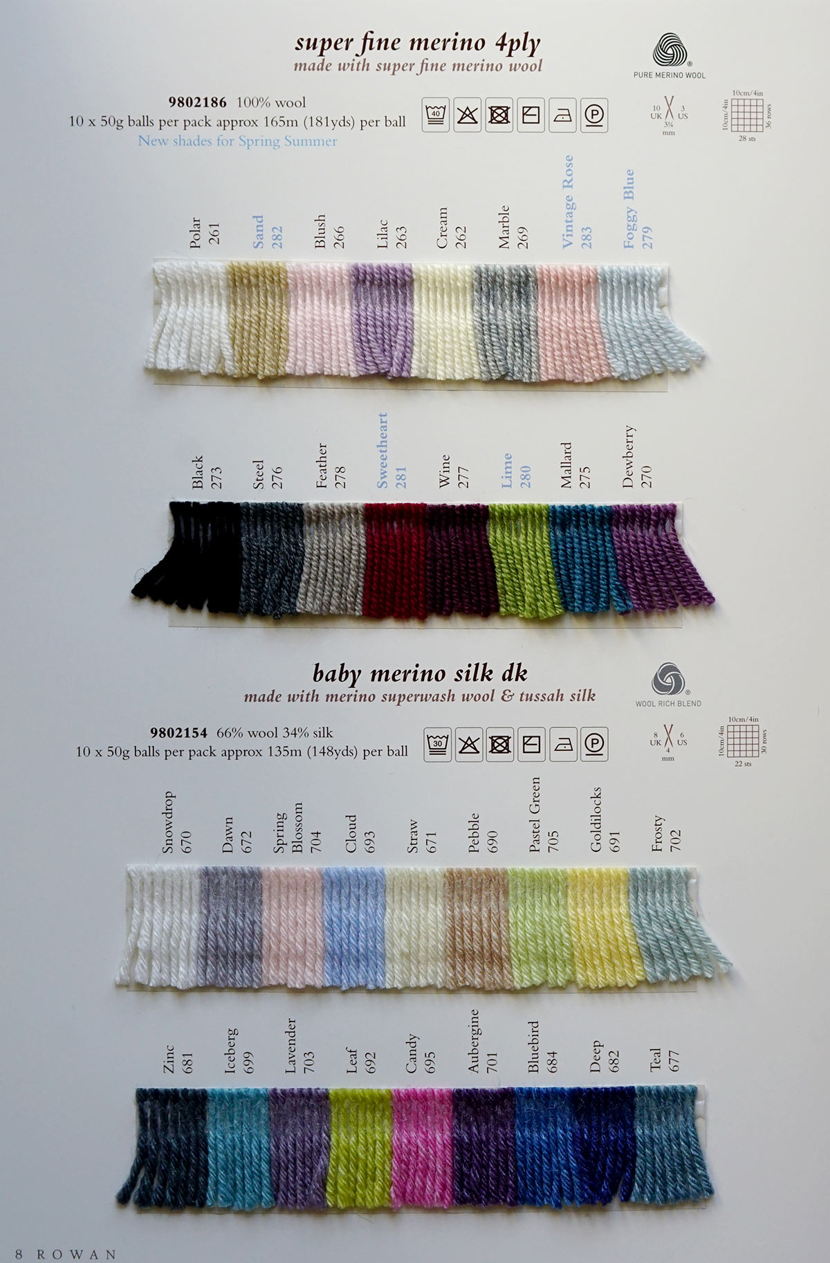 44dfd537cfd Rowan Baby Merino Silk DK - Rowan Yarns RYC Sirdar Sublime English ...