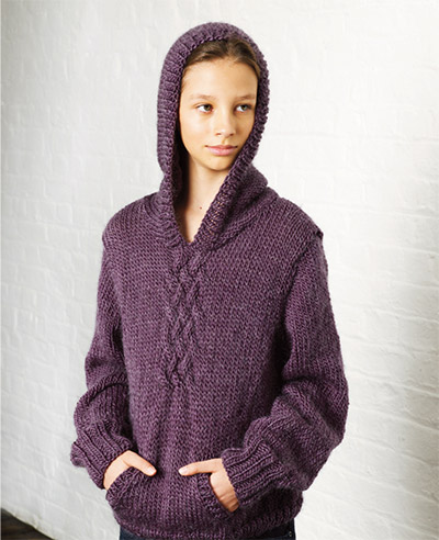 This childrens hooded jumper uses Cocoon and has been designed