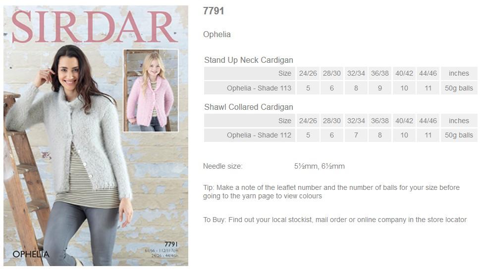 Sirdar Pattern Leaflets using Ophelia - Rowan Yarns RYC Sirdar ...