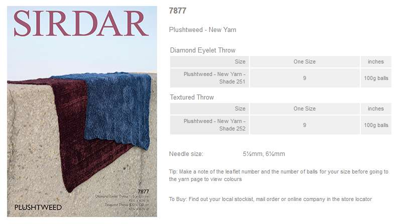 Sirdar Pattern Leaflets using Plushtweed - Rowan Yarns RYC Sirdar Sublime Eng...