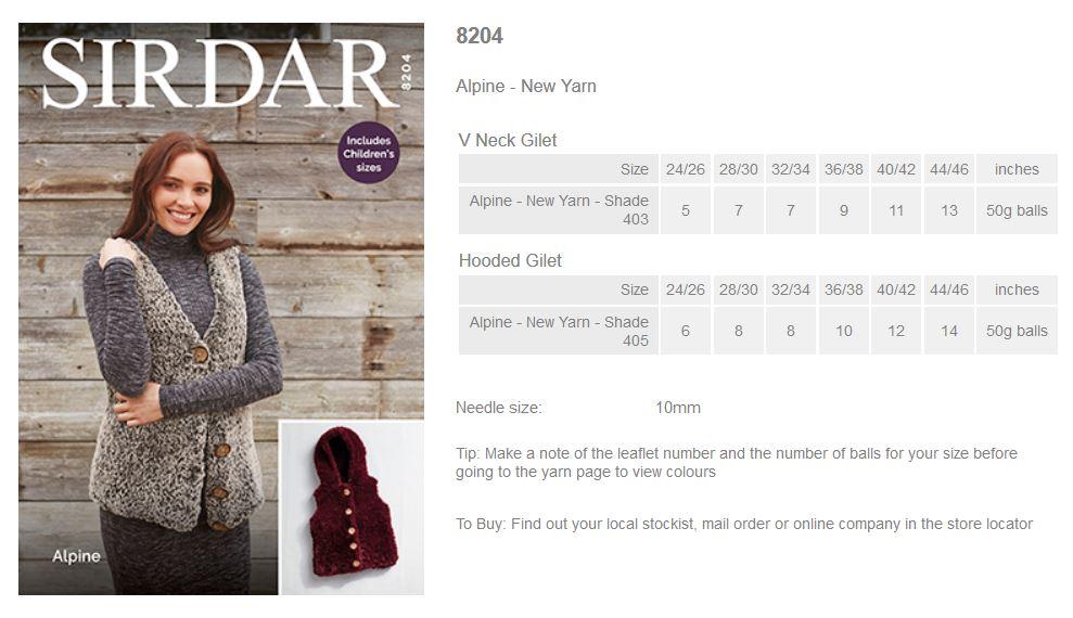 Sirdar Pattern Leaflets Using Alpine Rowan Yarns Ryc Sirdar