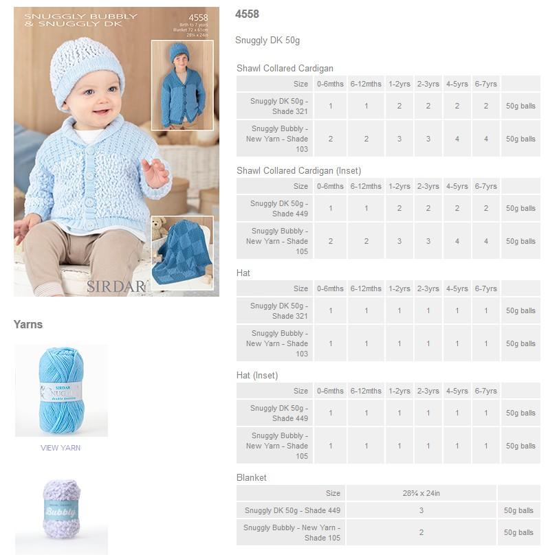 Sirdar Pattern Leaflets using Snuggly Bubbly - Rowan Yarns RYC Sirdar Sublime...