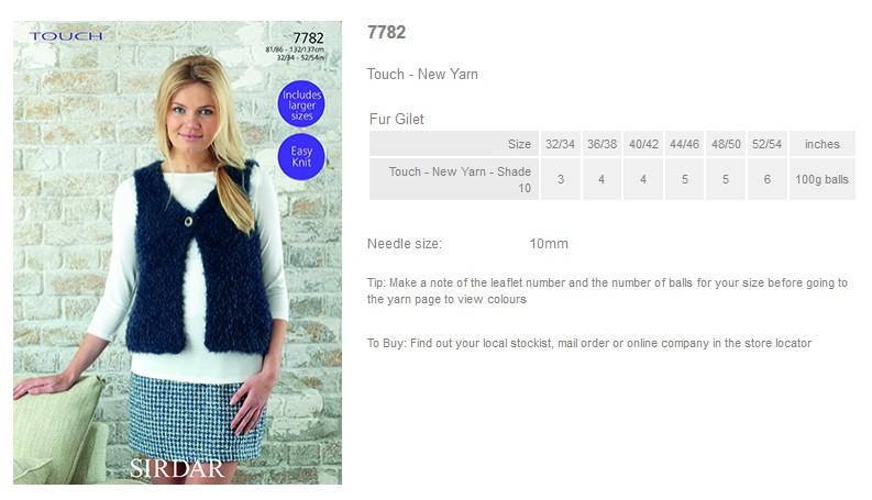 Sirdar Ladies Gilet Touch Fur Knitting Pattern 7782 Sirdar-7782