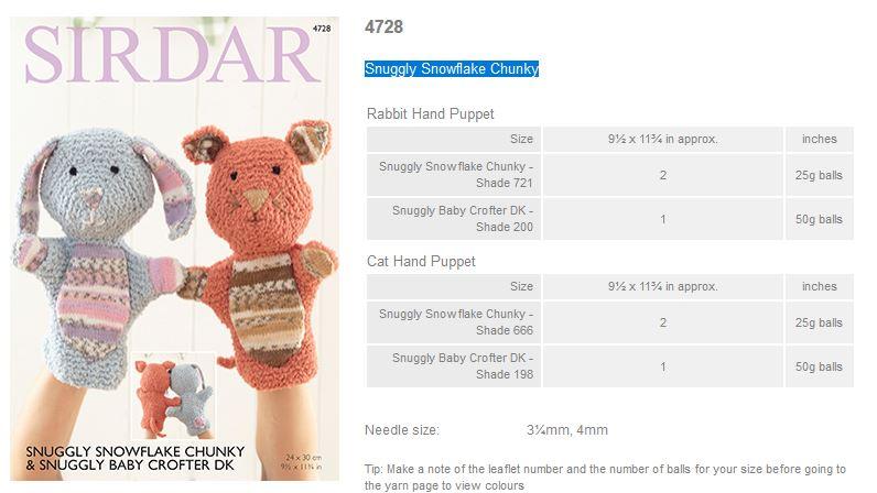 ORIGINAL KNITTING PATTERN SIRDAR 4728 SNUGGLY SNOWFLAKE RABBIT//CAT HAND PUPPETS
