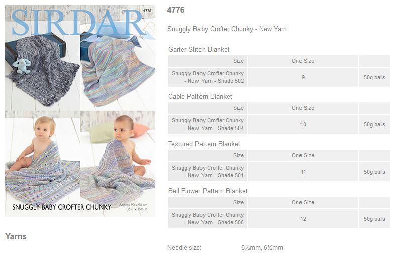 Sirdar Pattern Leaflets using Snuggly Baby Crofter Chunky - Rowan Yarns RYC S...