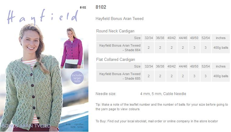 95d730d8338b4f ... Leaflet with designs for Round Neck and Flat Collared Cardigans using Hayfield  Bonus Aran Tweed.