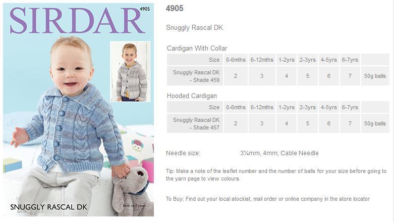 079540afe63 Sirdar Pattern Leaflets using Snuggly Rascal DK - Rowan Yarns RYC ...