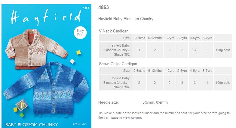 c0a54bc71d6d Sirdar Pattern Leaflets using Hayfield Baby Blossom Chunky - Rowan ...